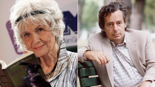Une femme regarde la caméra en tenant un livre dans ses mains, un homme assis sur un banc de parc regarde la caméra.