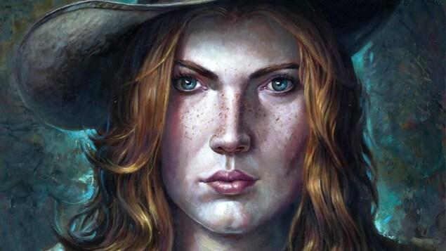 Sur la page couverture d'une bande dessinée intitulée Wild West Calamity, une femme portant un chapeau de cowboy regarde droit devant elle.