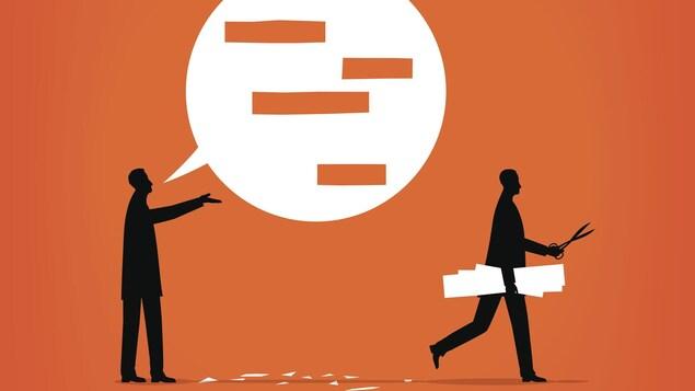 Illustration d'un homme qui s'exprime dans une bulle de dialogue dans laquelle un homme homme est venu découper ses mots pour le censurer.