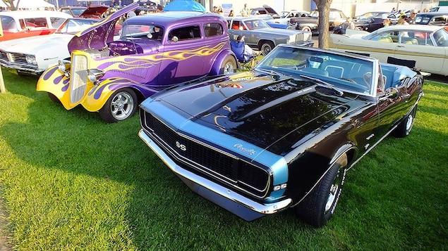 Des voitures classiques sont présentées au public pendant une exposition.
