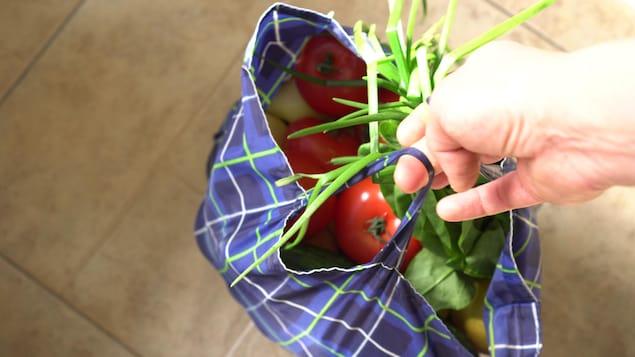 Une personne tient un sac réutilisable dans lequel se trouvent des légumes.
