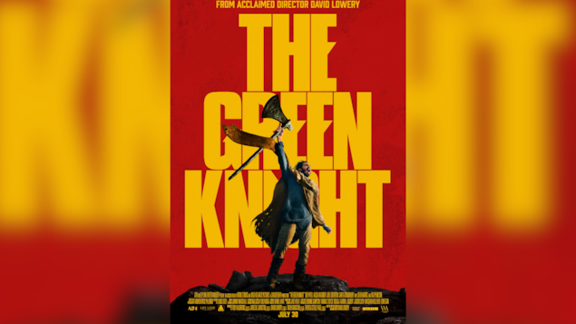 L'affiche montre un combattant médiéval levant une hache dans les airs en criant.