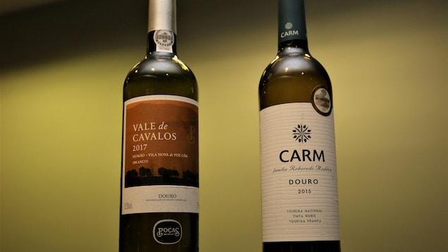 Les vins rouge et blanc que propose Élyse Lambert.