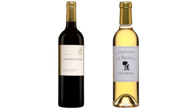Bouteille de vin rouge Château Fleur Haut Gaussens Bordeaux Supérieur 2014 et bouteille de vin blanc Château Sigalas Rabaud Lieutenant de Sigalas 2013.