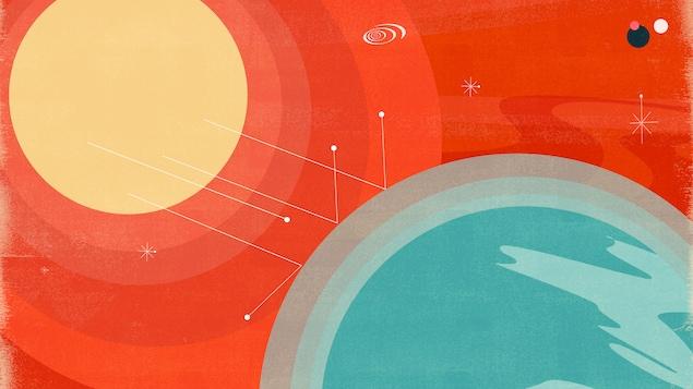 Cette illustration montre un soleil dont les rayons sont reflétés par une couche externe de l'atmosphère de la Terre.