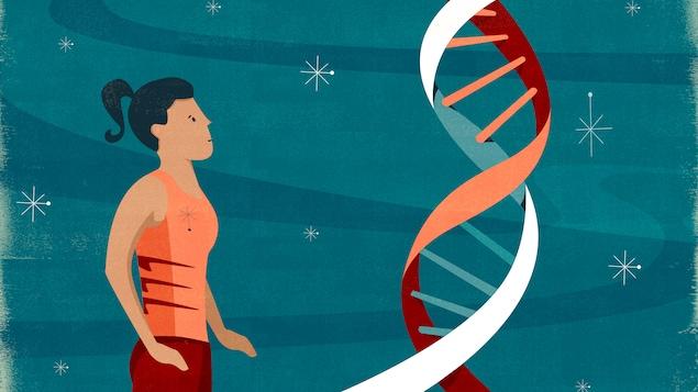 L'illustration présente une athlète regardant un brin géant d'ADN.