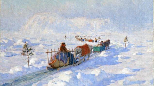 Une toile représente une caravane de traîneaux tirés par des chevaux sur un pont de glace.