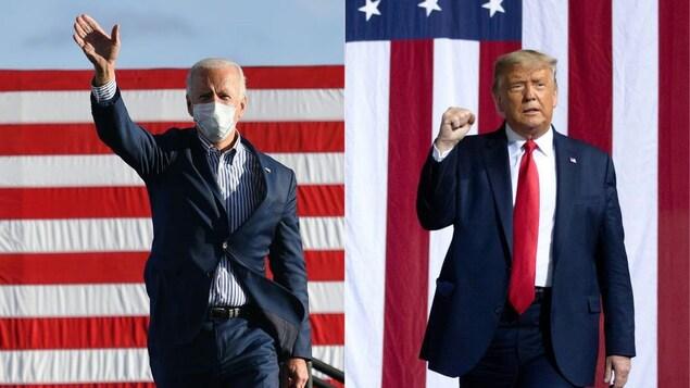 Joe Biden et Donald Trump debout devant un drapeau des États-Unis.