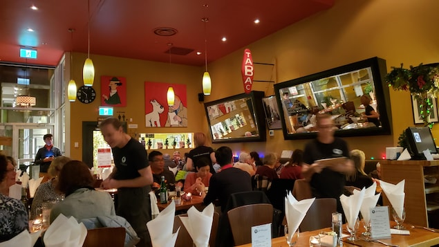scèene dans un restaurant avec serveurs clients et décor français