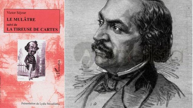 À gauche, couverture du livre Le Mulâtre aux éditions L'Harmattan; à droite, portrait graphique de Victor Séjour.
