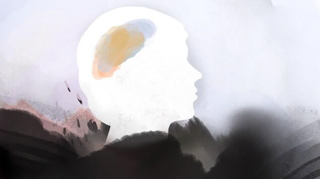 La silhouette abstraite d'une personne est dessinée.
