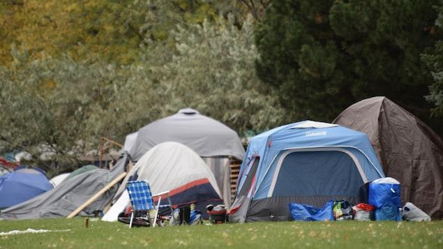 Un regroupement de tentes.