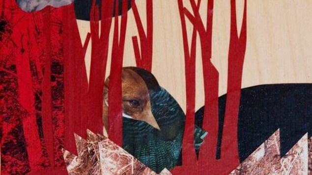 un collage artistique représentant un paysage de forêt avec un oeil d'animal