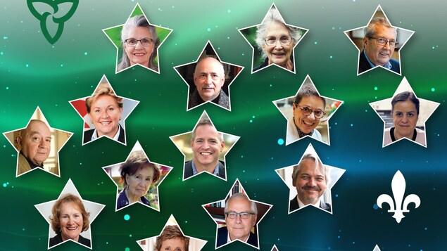 Page couverture où l'on voit le visage des 25 étoiles du Nord.