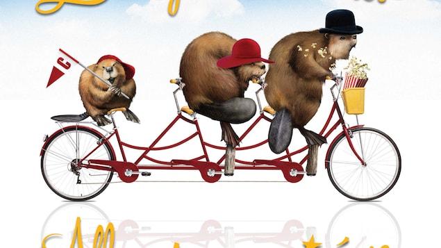 trois castors qui pédale sur un vélo à trois sièges, nous pouvons aussi voir les mots ; allons tous au cinéma.
