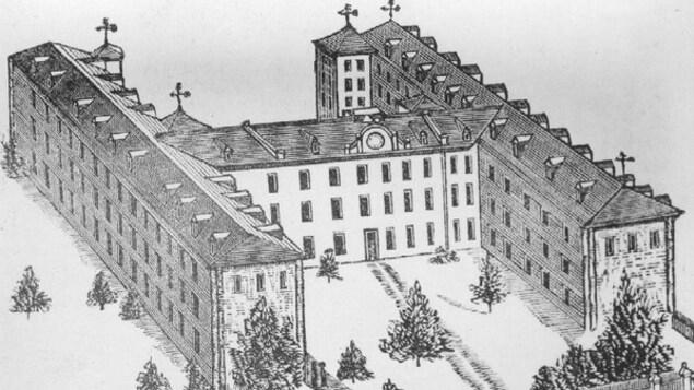 Dessin en noir et blanc d'un énorme bâtiment formant la lettre H et doté de nombreuses fenêtres.