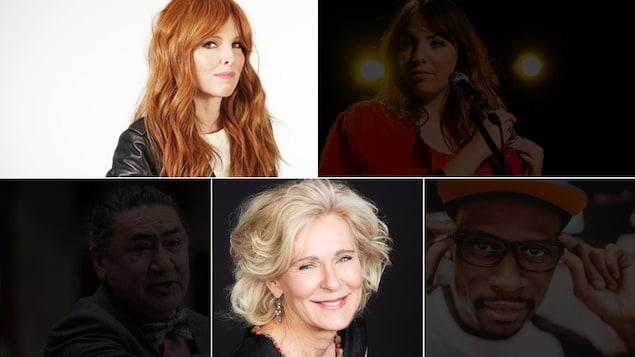 Montage des photos des 5 combattants du Combat national des livres 2020 : France D'amour, Julie Aubé, Roméo Saganash, Dominique Demers et Alpha Toshineza.