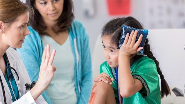 Une jeune joueuse de soccer tient un sac de glace sur sa tête, tandis qu'une médecin lui pose des questions. La mère de la jeune fille se trouve en arrière-champ.