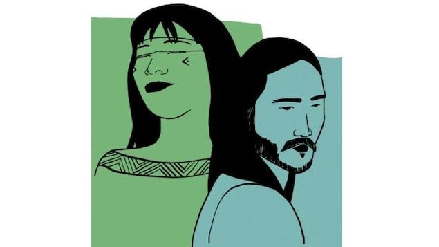 Une femme et un homme, dessinés au trait sur fond de couleurs verte et turquoise.