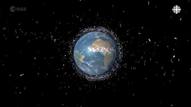 Photomontage montrant la Terre entourée de millions de débris spatiaux
