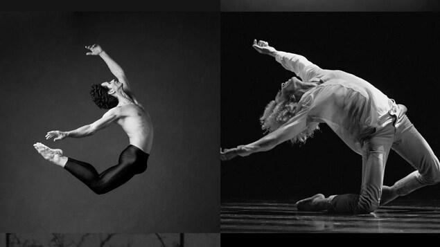 Montage de trois photos de danseurs qui dansent.
