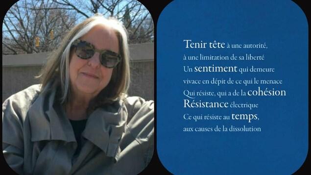 Andrée Lacelle (g) et pochette du recueil « Poèmes de la résistance » où il est écrit: «Tenir tête à une autorité, à la limitation de sa liberté - Un sentiment qui demeure vivace en dépit de ce qui le menace - Qui résiste, qui a de la cohésions - Résistance électrique-Ce qui résiste au temps, aux causes de la dissolution.»