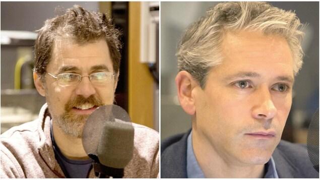 (À gauche) Pierre-Olivier Pineau, professeur et titulaire de la Chaire de gestion du secteur de l'énergie à HEC Montréal. (À droite) Patrick Bonin, responsable de la campagne Climat-Énergie pour Greenpeace Canada.
