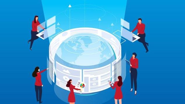 Un dessin de personnes qui surveillent des écrans avec les informations qui circulent dans le monde.