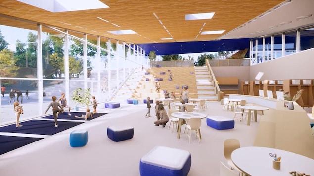 Simulation virtuelle d'un espace commun d'une école.