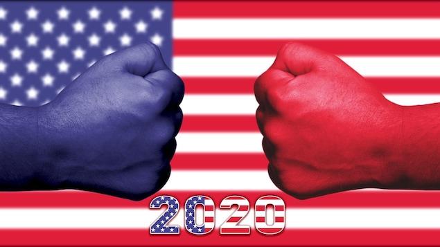 Un concept où un poignet bleu confronte un poignet rouge devant un drapeau américain.