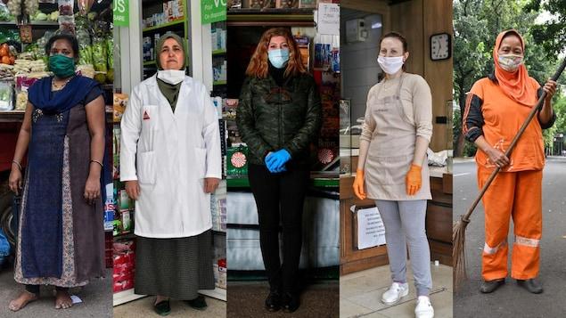 Cinq femmes en tenue de travail de vendeuse de fruits et légumes, de pharmacienne, de vendeuse de journaux, de boulangère et d'agente d'entretien des rues, portant des masques.