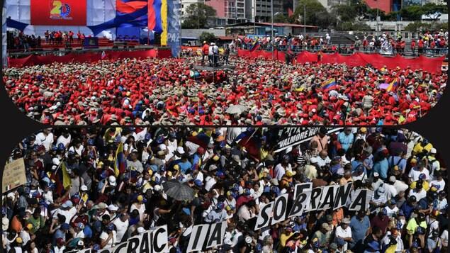 Des dizaines de milliers de vénézuéliens ont manifesté le 2 février, dans les rues de Caracas soit en soutien au Président Nicolas Maduro, pour célébrer les 20 ans de la « révolution bolivarienne » (haut),  soit pour répondre à l'appel du chef de l'opposition Juan Guaido(bas).