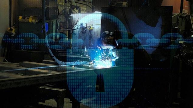 Un chaîne cybernitique sur une photo d'un atelier d'une PME