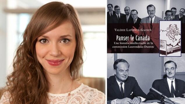Valérie Lapointe-Gagnon (gauche) et son son livre, Panser le Canada (droite)