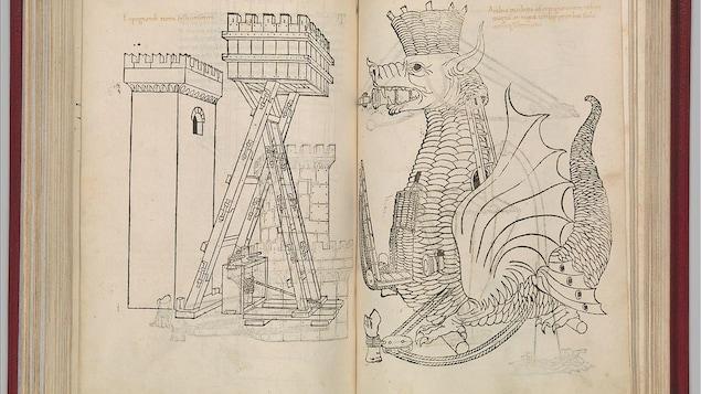 Un livre montrant deux croquis, un dragon et une tour.