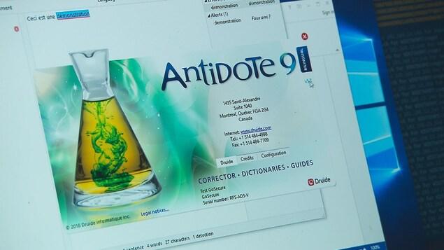 Session de démonstration du logiciel d'Antidote sur un écran d'ordinateur.