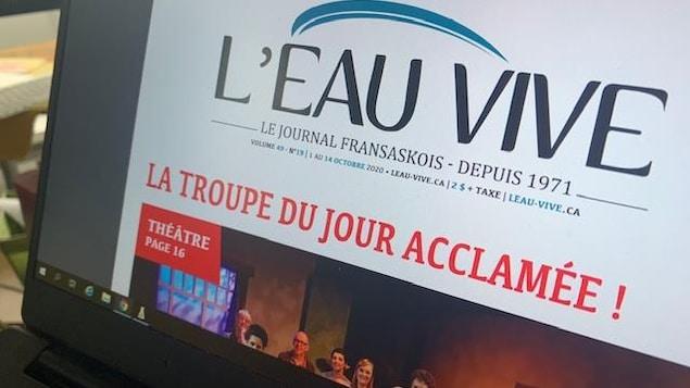 La couverture numérique du journal fransaskois l'Eau vive