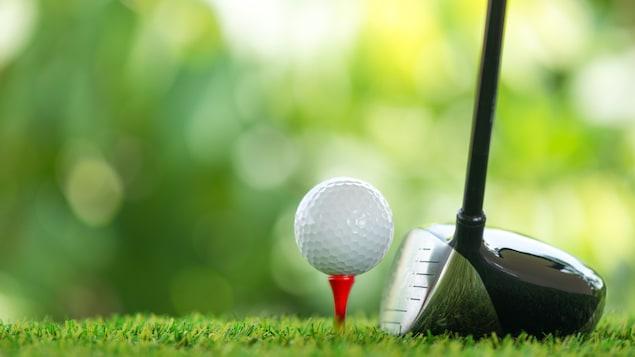 Un bâton et une balle de golf.