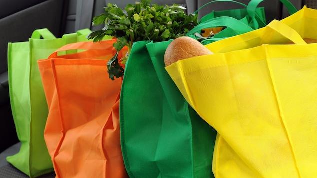 Des sacs réutilisables sur la banquette arrière d'une voiture.