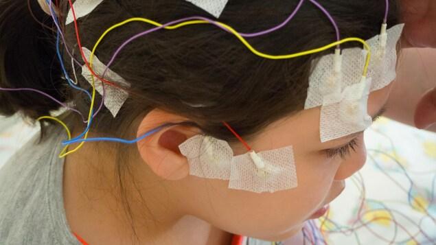 Une femme avec des électrodes multicolores sur la tête.