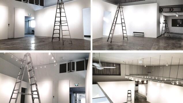 Montage de quatre photos qui exposent le travail après les rénovations.