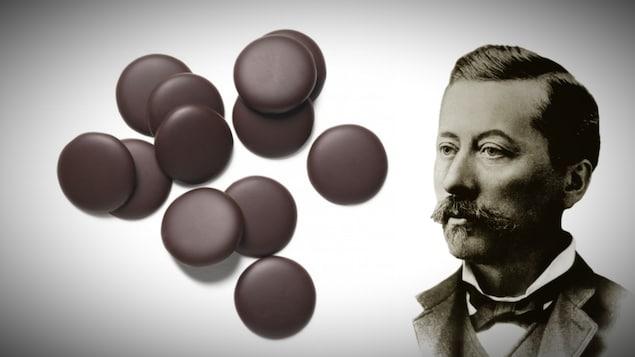 Montage d'image : des pastilles de chocolat et portrait d'Étienne Guittard.