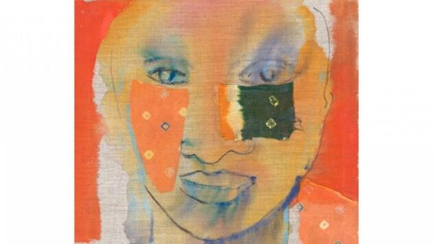 Oeuvre de l'artiste Jaswant Guzder qui montre une peinture d'un visage avec des collages sur les joues