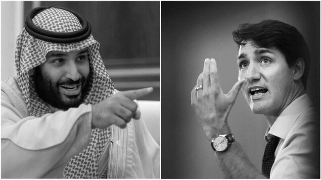 Le prince héritier de l'Arabie Saoudite Mohammed ben Salmane et le premier ministre du Canada Justin Trudeau.