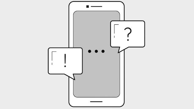 Un échange de messages textes sur un téléphone cellulaire est illustré.