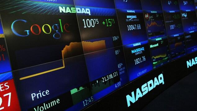 L'action de Google apparaît sur des écrans du NASDAQ.