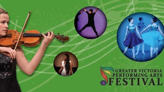 Affiche du festival. Une femme joue du violon. Trois femmes dansent le ballet. Une femme habillée de noir saute dans les airs. Une femme habillée de blanc sourit.