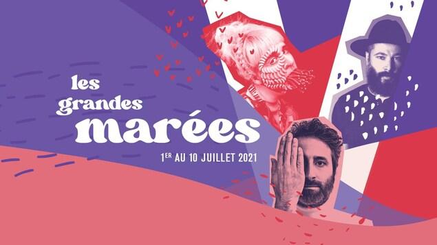 L'affiche  du Festival en chanson de Petite-Vallée 20201 avec des photos de Klô Pelgag, Louis-Jean Cormier et Tire le coyote.