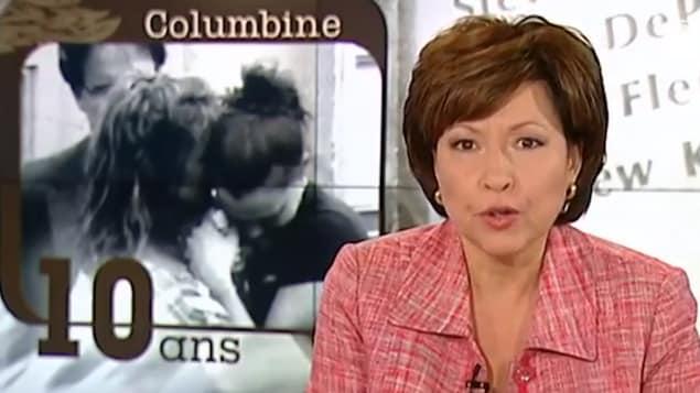 L'animatrice Céline Galipeau présente un reportage sur le dixième anniversaire du massacre à l'école Columbine.