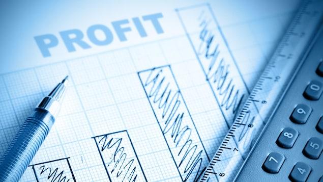 Sur une feuille de papier, le mot profit est au-dessus de graphique dessiné à la main. Il y a un crayon, une règle et une calculatrice en avant-plan.